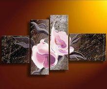4 adet/takım wall art modern soyut çiçek tuval resim sergisi modern seti resimleri dekor(China (Mainland))