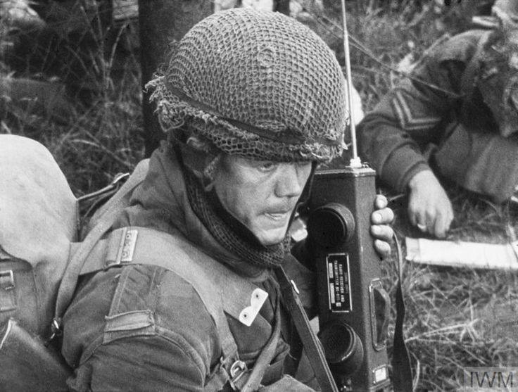 Worried-looking British soldier with walkie-talkie - Arnhem
