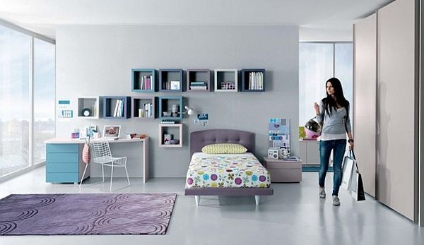 contemporary teen room - purple and white accents
