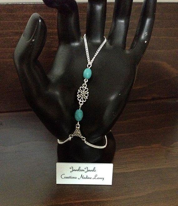Slave Bracelet//Turquoise hand by JewelzonJewelz on Etsy