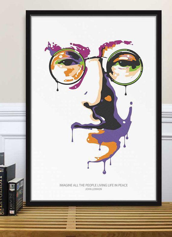 Poster John Lennon Imagine Peace, The Beatles, Graphic Art, Illustration, Home Decor.