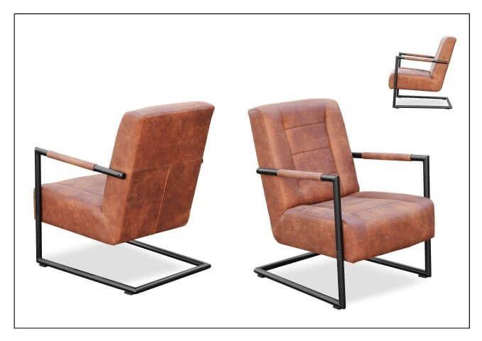 Stoere industriele fauteuil 300 van Koopmans meubelen zwart staal