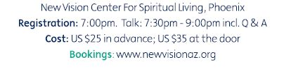 Dr. John Demartini will be at New Vision Center for Spiritual Living, Phoenix at 7:00pm on June 12, 2014, talk about the values factor – the secret to creating an inspired and fulfilling life.