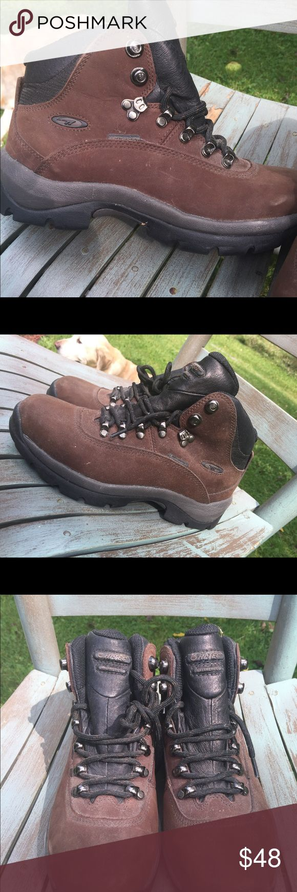 Women's Hi-Tec Brown Leather Hiking Boots Size 8M Women's Hi-Tec Brown Leather Hiking Boots Size 8M. These are waterproof. These are new, no tag. A little dusty from sitting Hi-Tec Shoes Lace Up Boots