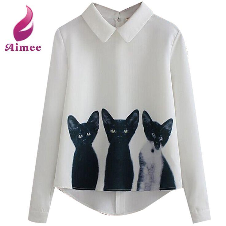 Купить Три кошки all матч пуловер рубашку с длинными рукавами свободного покроя Blusas Desigual шифон блузки S XL белые рубашки печатных вершины LQ8862Lи другие товары категории Блузки и рубашкив магазине Aimee BoutiqueнаAliExpress. кофточка зимой и блузки индии