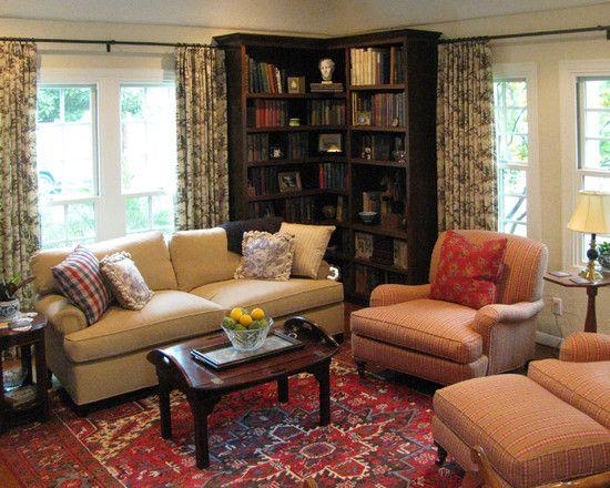 Furniture Traditional Living Room Design With Dark Brown Wooden Corner Bookshelves Also Traditional Windows Design