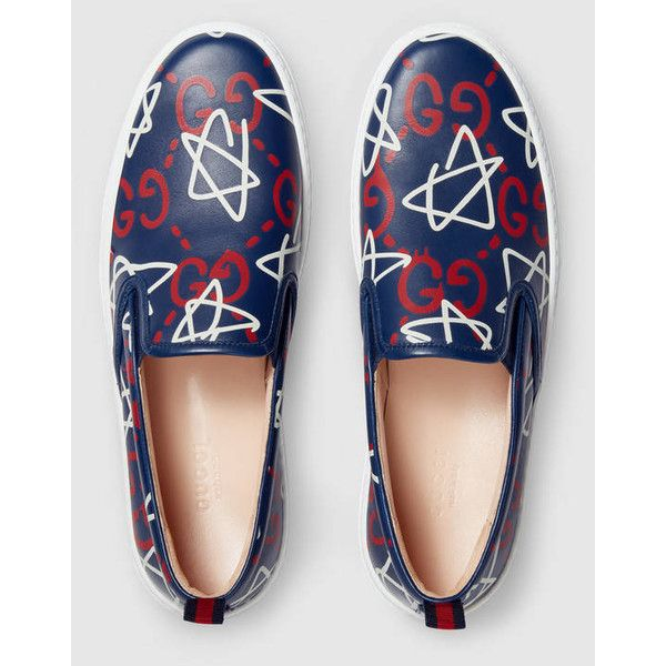 Guccighost Print Leather Slip-On Sneaker (1325 TND) ❤ liked on Polyvore featuring shoes, sneakers, slip-on sneakers, slip-on shoes, leopard print slip-on shoes, pull on sneakers and leather shoes