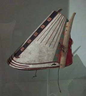 A hat to be worn while kayaking. Aleut, 1867. At the Peabody Museum at Harvard University.