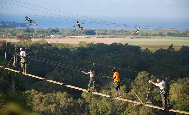 Zip Lines above a valley in Mauritius
