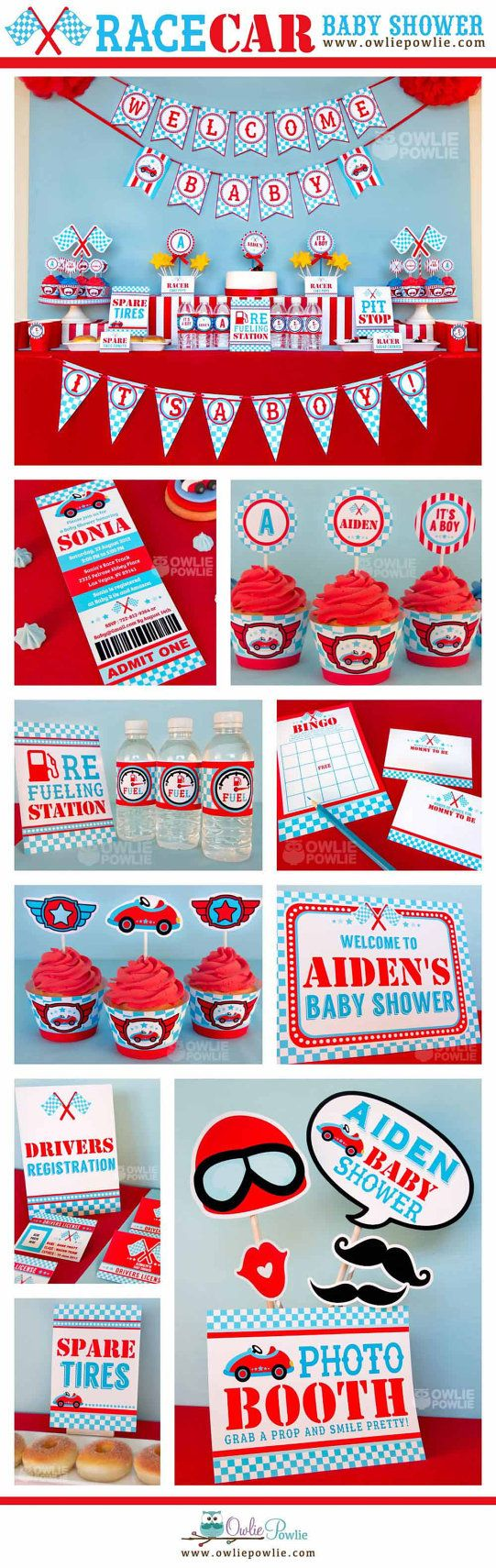 Blue Race Car BABY Shower Party Printable Package & by OwliePowlie, $29.00