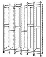 Art Storage System has adjustable shelves for storing any size art.