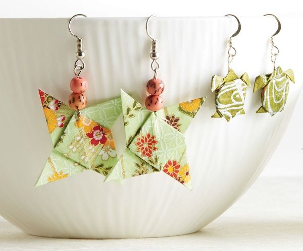 """Learn to create origami """"models"""" and the proper way to turn them into paper jewelry like earrings, brooches, rings, necklaces, hair accessories, and more!"""