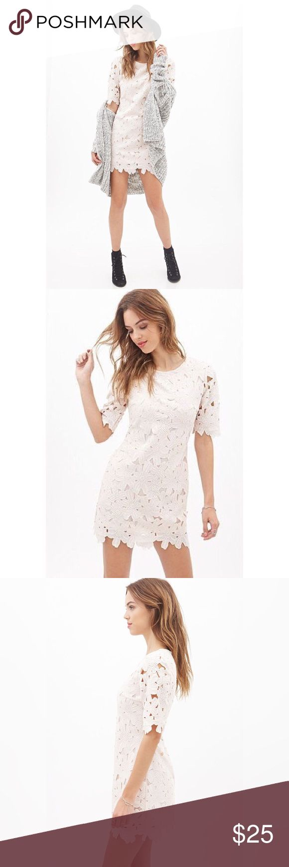 ✨Women's Pink Floral-embroidered Scalloped Dress✨ ✨Women's Pink Floral-embroidered Scalloped Dress. 100% polyester✨ Forever 21 Dresses Mini