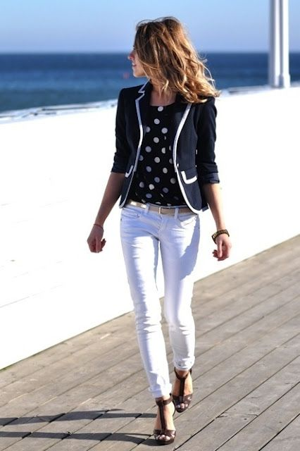 White jeans, navy/white polka dot blouse, navy w/white piping blazer.