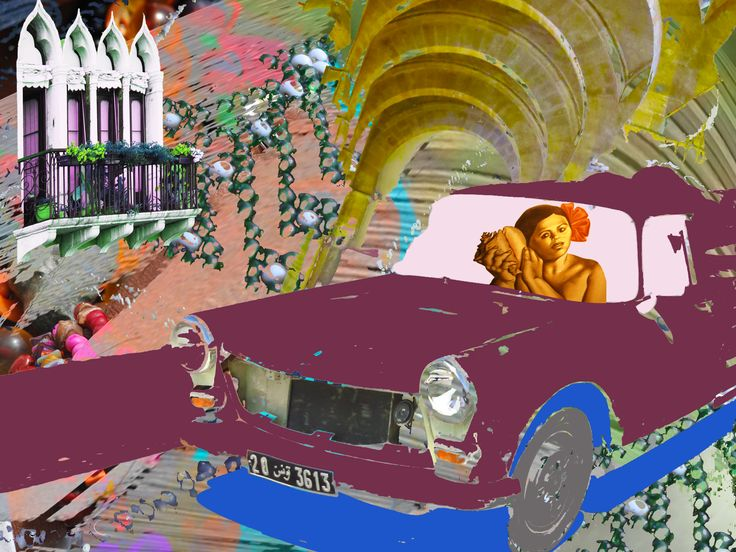 Street Scene. Digital collage art by Yasmine Dabbous.