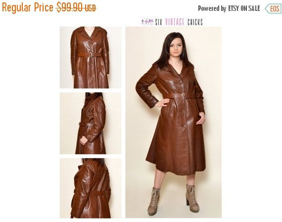 40% Off Xmas Sale Vintage Leather Coat/ 90's brown leather/ Classic style Buttoned  Coat/ Free Shipping/Vintage Woman's Clothing/ Size M/L by SixVintageChicks on Etsy