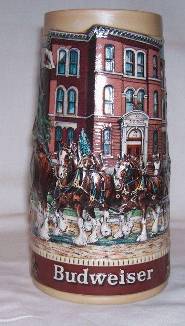 Budweiser Steins  | Budweiser Stein Historical Landmark Old by RockingChairAntiques