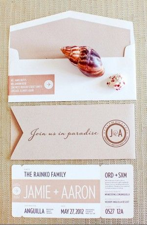 Oh So Beautiful Paper: Jamie + Aaron's Modern Romantic Destination Wedding Invitations