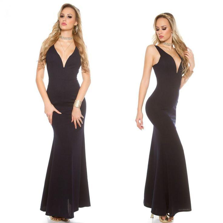 Sötétkék kivágott alkalmi maxiruha - Női ruha webáruház, női ruhák online - HG Fashion