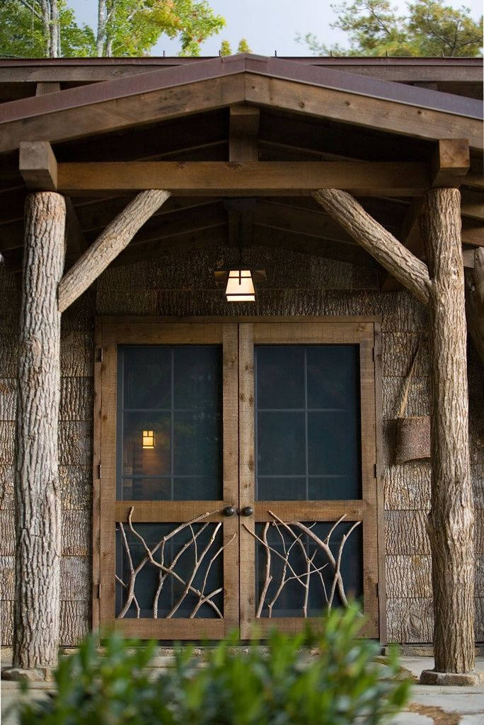 Love these rustic cabin screen doors with twig detail                                                                                                                                                      More