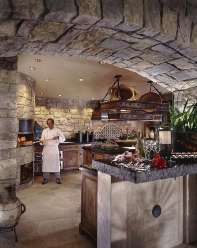 Indoor pizza oven + stonework