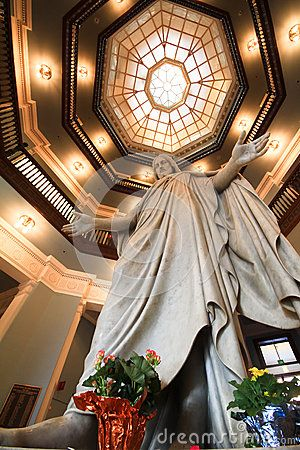 Image result for Johns Hopkins Hospital atrium 1968 telephone booths and Jesus statue