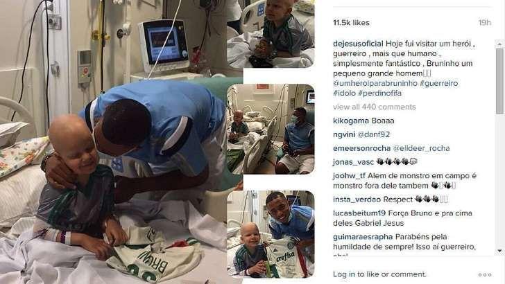Gabriel Jejus Visita Menino Leucemia Hospital Futebol
