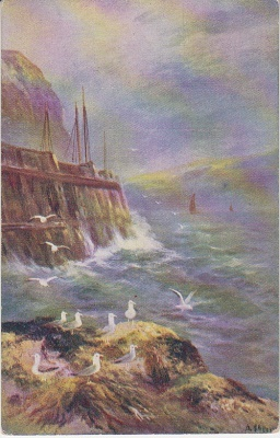 A Vivian Mansell Postcard - Seashore with Seagulls  - 1120