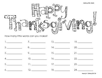 {freebie} How many words can you make with 'Happy Thanksgiving'?