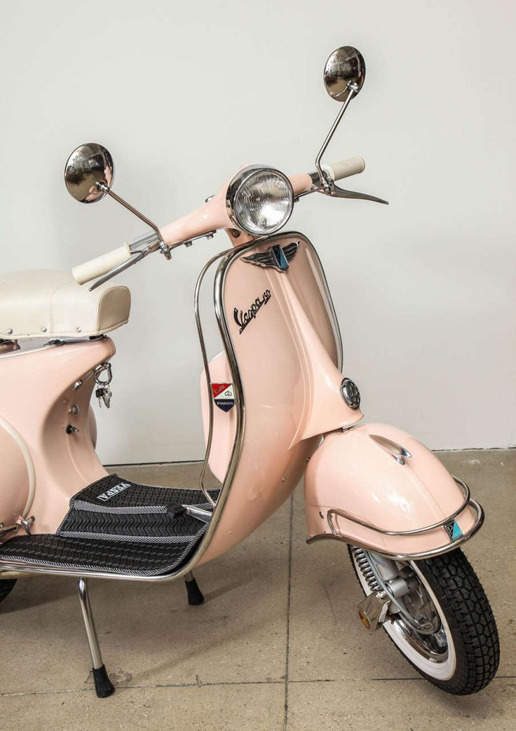 Fully Restored 1963 Pink with White Leather Vintage Italian, Piaggio Vespa