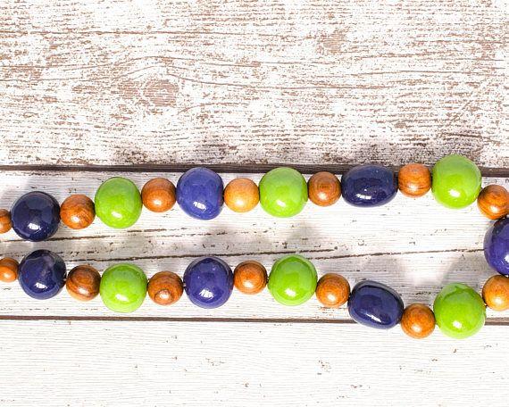 Kazuri Bead Purple Necklace - Lime Green Necklace - Fair Trade Wood Necklace - Purple and Green Kazuri Necklace - Ethical Necklace thecoastaldesert The Coastal Desert handmade jewelry jewellery