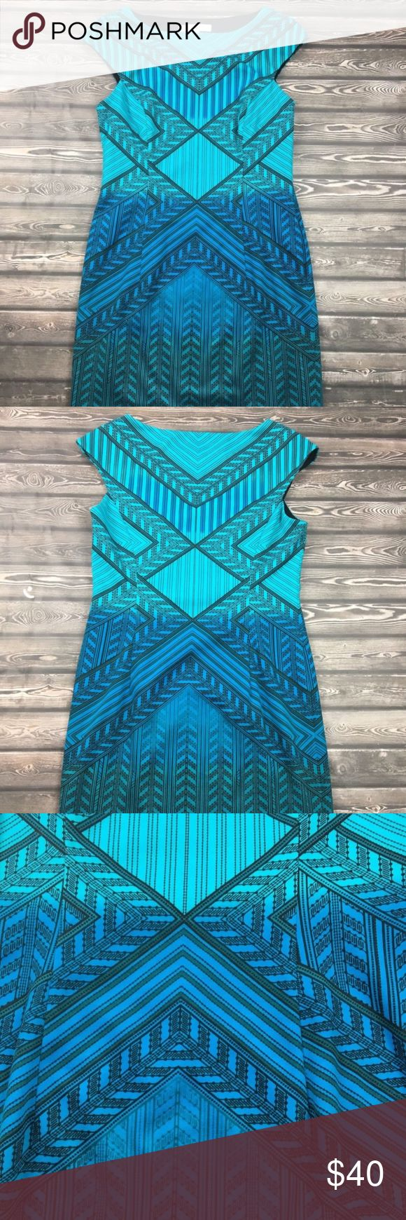 """Stitch Fix Wisp Blue Chevron Tribal Dress Label: Wisp/Stitch Fix Size: 10 Measurements: Armpit to armpit (laying flat) 16 1/2"""", Length 37"""" Color: Blues Print: Chevron/Tribal Sleeves: Sleeveless Zipper: Side Pockets: No Lined: Yes  Please ask me any questions that you may have. This comes from a smoke free environment. Wisp Dresses Midi"""