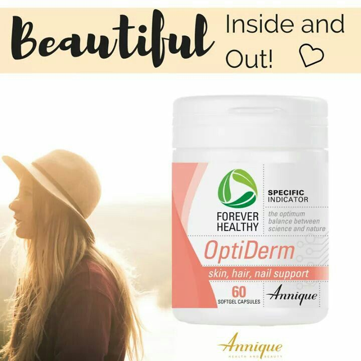 Annique's Forever Healthy OptiDerm is the perfect all-in-one beauty treatment in a bottle. OptiDerm contains a complex formulation of vitamins and minerals including B12, B2 and Biotin which will improve and keep your hair, skin and nails looking and feeling beautiful. #Leonique #Annique #AnniqueOnlineProducts  Easy Online Ordering https://www.leonique.co.za/product/optiderm/