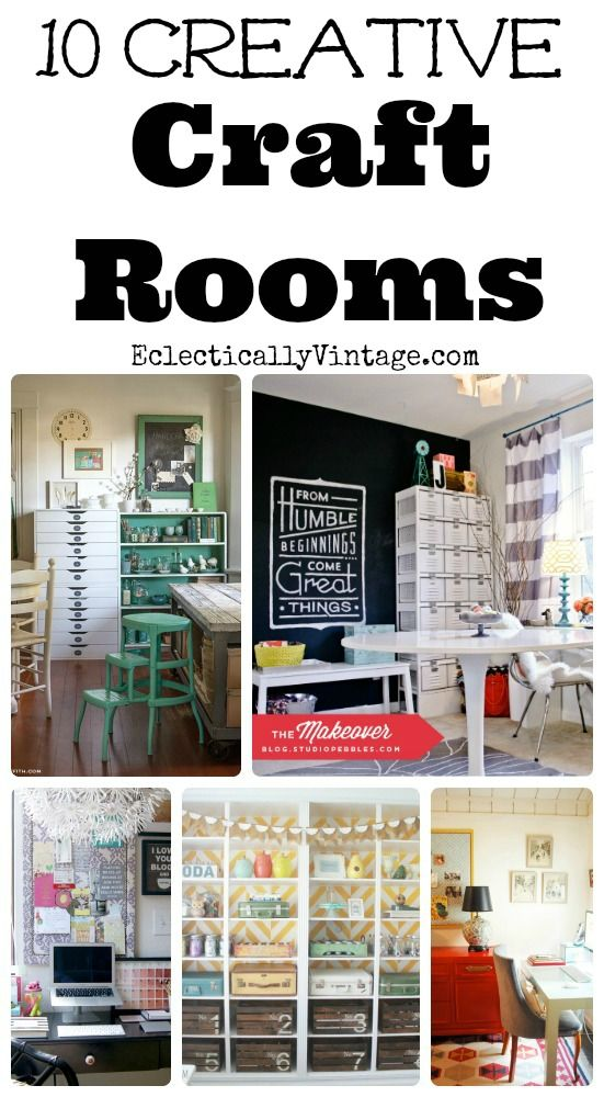 10 Creative Craft Rooms with Style! - tons of storage decorating ideas! eclecticallyvitnage.com