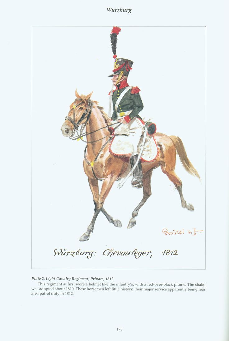 The Confederation of the Rhine - Wurzburg: Plate 2. Light Cavalry Regiment, Private, 1812