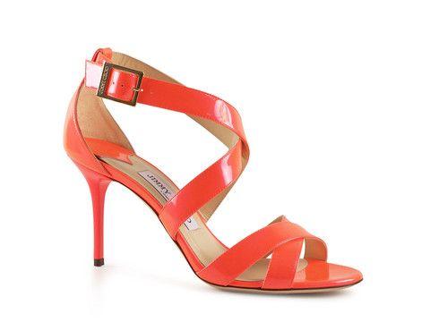 Jimmy Choo Louise patent neon Flame hi heel sandals - LuxuryProductsOnline