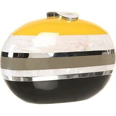 """""""Lizelle"""" minaudière in yellow, grey, black with white mother-of-pearl and stainless steel by Rafe New York: Minaudi Clutches, Color Crash, York Lizel, O' Women S Handbags, New York, Lizel Minaudi, Bags Bags, York Clutches, Lizell Minaudier"""