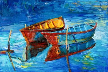 Pintura al leo original de los barcos y el mar en canvas Sunset sobre ocean Modern Impresionismo Foto de archivo