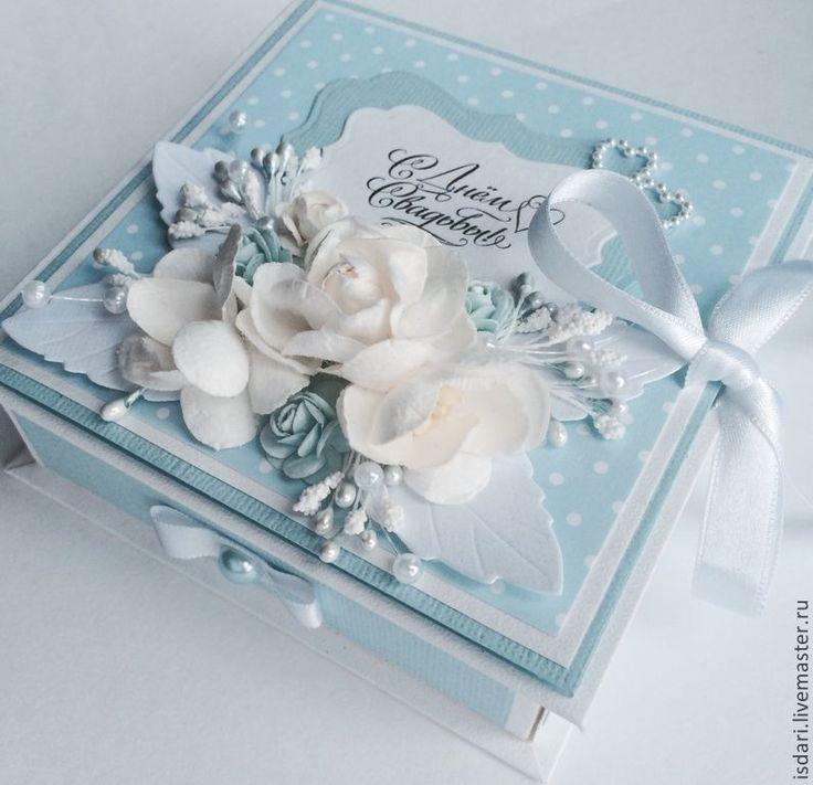 Купить Коробочка для денег нежно голубая - коробочка для денег, для денежного подарка, для денег, подарок на свадьбу