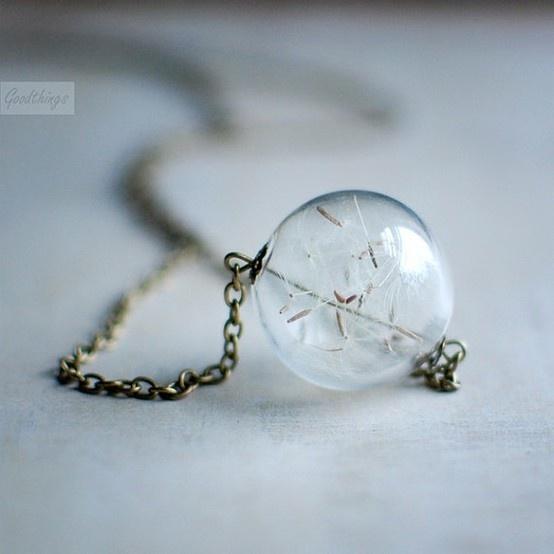 necklace with dandylion globe