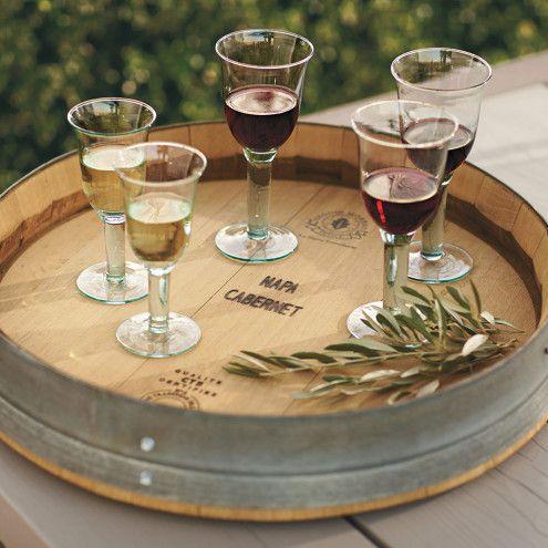 Banded Wine Barrel Lazy Susan   VivaTerra