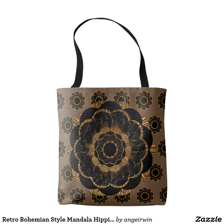 Retro Bohemian Style Mandala Hippie brown Tote Bag
