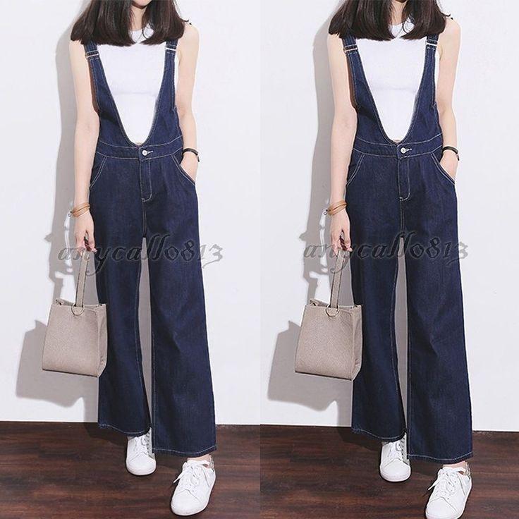 Womens Denim Overalls Loose Jeans Jumpsuit Suspender Pants Boot Cut Trousers