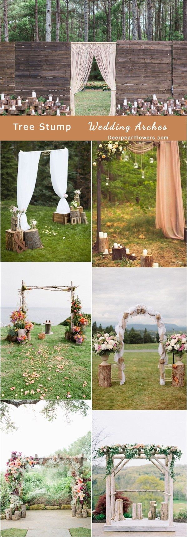 rustic tree stump wedding arch decor ideas / http://www.deerpearlflowers.com/rustic-woodsy-wedding-trend-tree-stump/ #rustic #rusticwedding #countrywedding #weddingideas