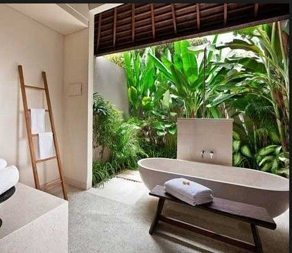 More plants in bathrooms. Bali Style Bathroom - took some getting used to at first but how I miss the open baths.