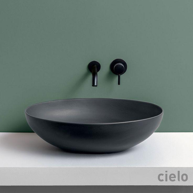 Bacinella ovale Eco 62 colorato Basalto Le Bacinelle - Bacinella colorato da bagno Ceramica Cielo