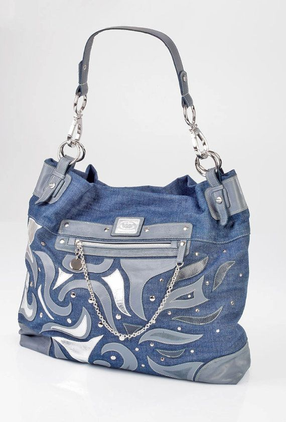 Denim And Leather Handbag Hobo Large Unique Designer por HABJANIC, $180.00