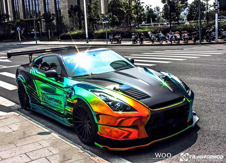 Lovely Wild BenSopra Nissan GT R With Rainbow Vinyl Wrap