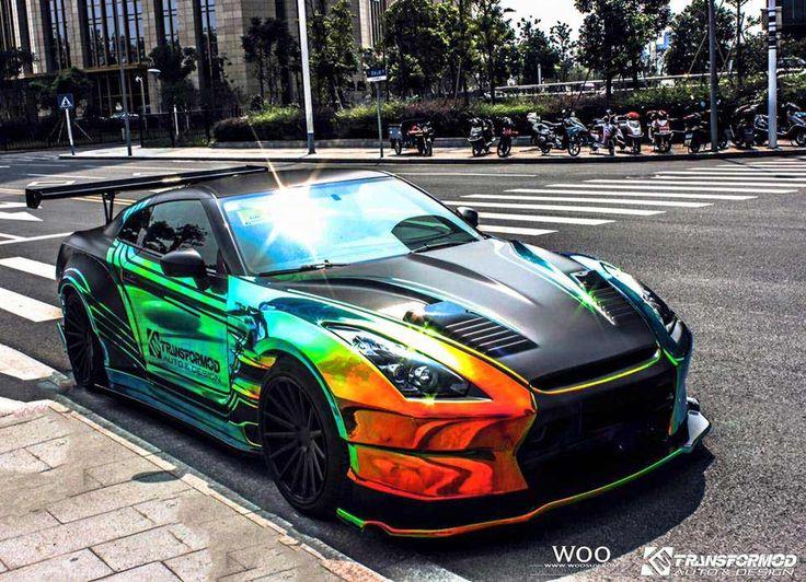Wild BenSopra Nissan GT-R With Rainbow Vinyl Wrap