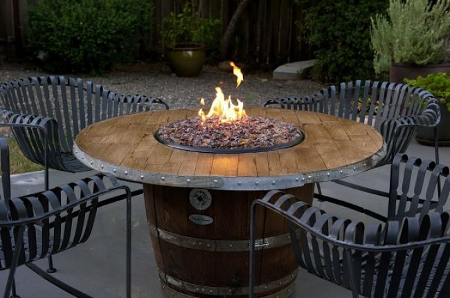 Vin De Flame Wine Barrel Firepit with Stave